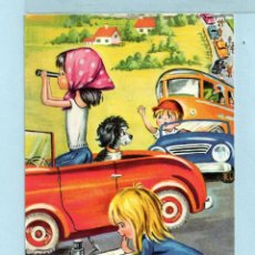 Postales: POSTAL DE DIBUJOS POR NIÑAS DE AVERIA EN COCHE ESCRITA EL AÑO 1966 EDITAD ITALIA. Lote 47676137
