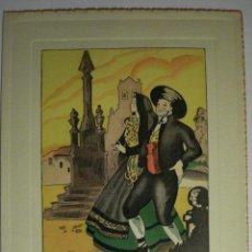 Postales: PRECIOSO DIPTICO - TIPOS DE SORIA - GRABADO COLOREADO - AÑOS 1950 - SIN USAR. Lote 237405665