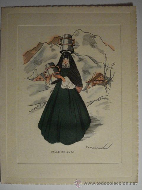 PRECIOSO DIPTICO - VALLE DE ANSO HUESCA - GRABADO COLOREADO - AÑOS 1950 - SIN USAR (Postales - Postales Temáticas - Dibujos originales y Grabados)
