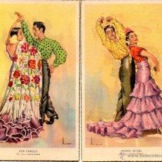 Postales: 2 POSTALES FOLKLORE ESPAÑOL, BALLET ESPAÑOL DE PILAR LOPEZ, BAILANDO PILAR LOPEZ Y ROBERTO XIMENEZ. Lote 49610725