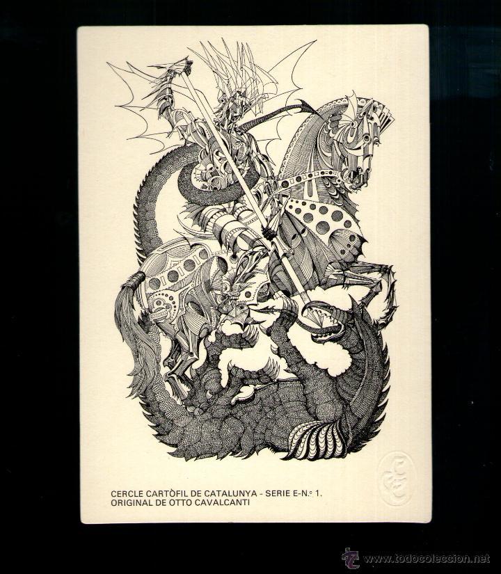 OTTO CAVALCANTI SANT JORDI ED LIMITADA CERCLE CARTÒFIL CATALUNYA POSTAL ORIGINAL (Postales - Postales Temáticas - Dibujos originales y Grabados)