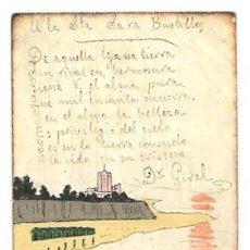 Postales: TARJETA POSTAL PINTADA A MANO CON PEQUEÑA POESIA DEL DOCTOR FRANCISCO GIRAL. AÑO 1904. Lote 50088540