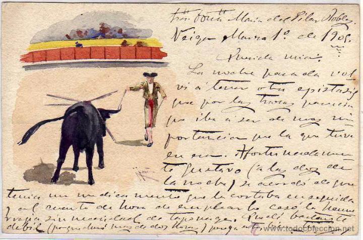 POSTAL PINTADA A MANO, TEMA TAURINO. 1905. (Postales - Postales Temáticas - Dibujos originales y Grabados)