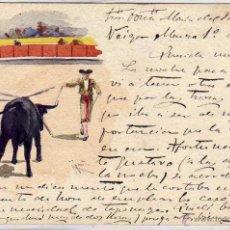 Postales: POSTAL PINTADA A MANO, TEMA TAURINO. 1905. . Lote 50490780