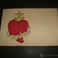 Postales: SAGRADO CORAZON DE JESUS POSTAL ANTERIOR A 1905 PINTADA A MANO. Lote 51696220