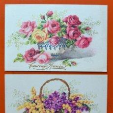 Postales: 2 ANTIGUAS POSTALES - CENTROS DE FLORES - PHOTOCHROM - SERIE FLEURS LECERF - MADE IN FRANCE. Lote 51783083