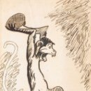 Postales: POSTAL F. J. SUCARANA. MONO ENFADADO LANZANDO UN COCO. PINTADA A MANO. CIRCULADA 1915. Lote 54037258