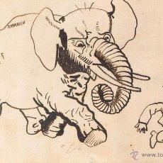 Postales: POSTAL F. J. SUCARANA. ELEFANTE ENFADADO PERSIGUE A PAYES. PINTADA A MANO. CIRCULADA CA. 1915. Lote 54037564