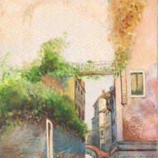 Postales: POSTAL R. CELPI. PASEO EN BARCA POR EL CANAL. PINTADA A MANO. CIRCULADA. Lote 54038070