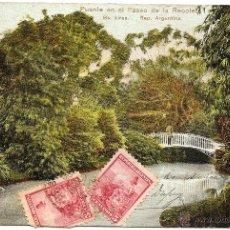 Postales: BUENOS AIRES - PUENTE EN EL PASEO DE LA RECOLETA - CIRCULADA AÑO 1906 DE B. AIRES A BARCELONA. Lote 54072499
