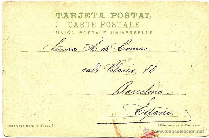 Postales: BUENOS AIRES - PUENTE EN EL PASEO DE LA RECOLETA - CIRCULADA AÑO 1906 DE B. AIRES A BARCELONA - Foto 2 - 54072499