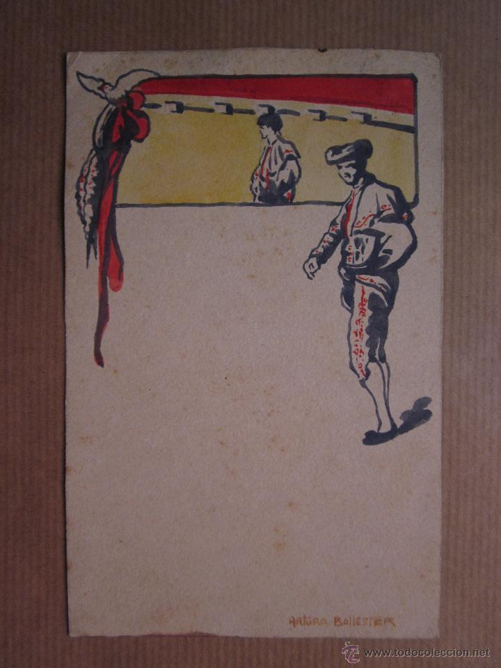 MUY RARA POSTAL DE TOROS ORIGINAL PINTADA A MANO POR ARTURO BALLESTER (Postales - Postales Temáticas - Dibujos originales y Grabados)