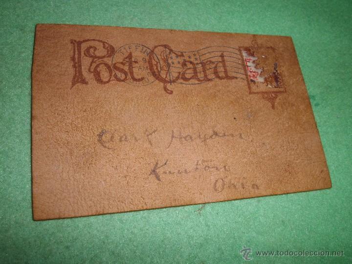 Postales: RARISIMA POSTAL CUERO PIEL PINTADA A MANO DIABLO DEMONIO TRIDENTE MODERNISTA ORIGINAL 1905 FIRMADA - Foto 5 - 55060858
