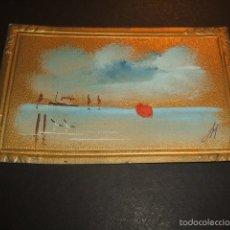 Postales: POSTAL MARCO IMPRESO PINTADA A MANO MARINA HACIA 1910. Lote 55574201