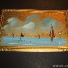 Postales: POSTAL MARCO IMPRESO PINTADA A MANO MARINA HACIA 1910. Lote 55574231