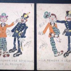 Postcards - LOTE DE DOS POSTALES CON DIBUJO ORIGINAL. FIRMADA ORTIZ - 56986655