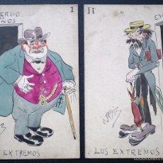 Postales: LOTE DE DOS POSTALES CON DIBUJO ORIGINAL: LOS EXTREMOS. FIRMADA ORTIZ. Lote 56986714