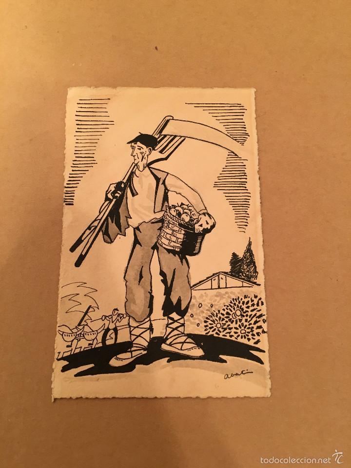 POSTAL - DIBUJO ORIGINAL - FRUTA - MANZANAS - POMOLOGIA - LABRADOR - VASCO - GUADAÑA - ABATI (Postales - Postales Temáticas - Dibujos originales y Grabados)