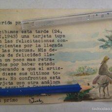 Postales: POSTAL DE FELICITACION PASCUAS , DIBUJO ORIGINAL ACUARELA Y SELLO ANTITUBERCULOSIS , 1943. Lote 58510356