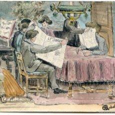 Postales: POSTAL ORIGINAL DEDICADA POR EL AUTOR A UNOS NOVIOS POR SU BODA, 1910. Lote 58653049
