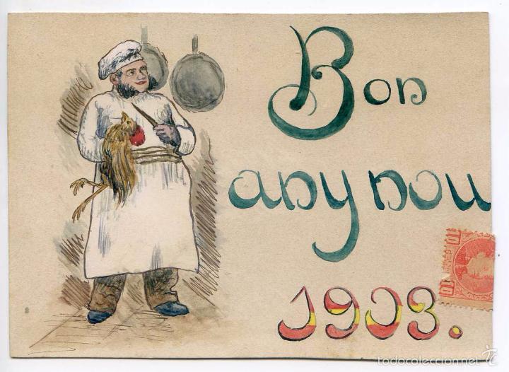 POSTAL ORIGINAL 1903, GASTRONOMÍA, COCINA, GIRONA (Postales - Postales Temáticas - Dibujos originales y Grabados)