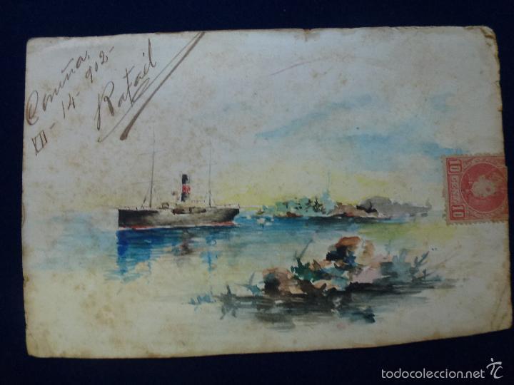 POSTAL. PINTADA A MANO. 1902 (Postales - Postales Temáticas - Dibujos originales y Grabados)