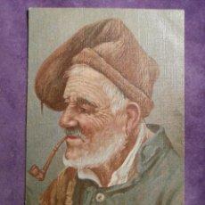 Postales: ANTIGUA POSTAL A COLOR ANCIANO CON CURIOSO GORRO Y PIPA - HECHA EN ITALIA - 2307-4 - ESCRITA EN 1909. Lote 61267983
