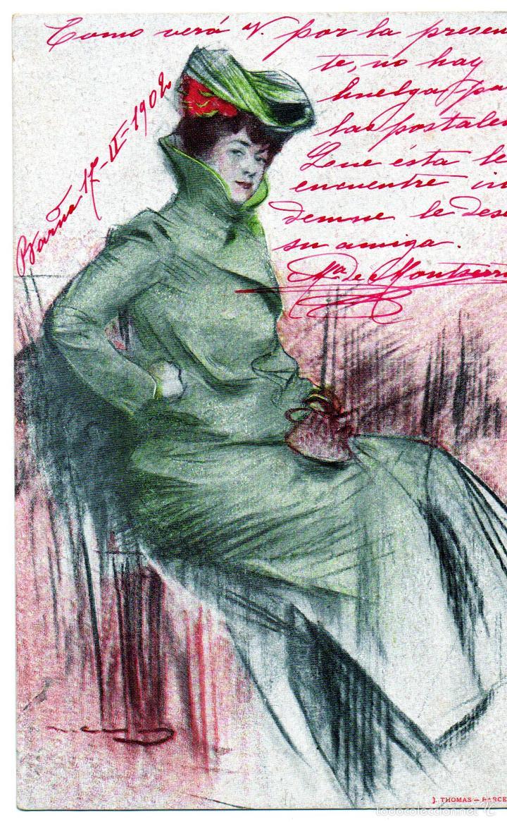 PS6758 FIGURA FEMENINA. RAMÓN CASAS. CIRCULADA. 1902 (Postales - Postales Temáticas - Dibujos originales y Grabados)