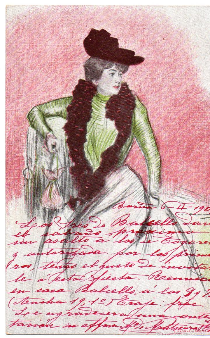 PS6759 FIGURA FEMENINA. RAMÓN CASAS. CIRCULADA. 1902 (Postales - Postales Temáticas - Dibujos originales y Grabados)