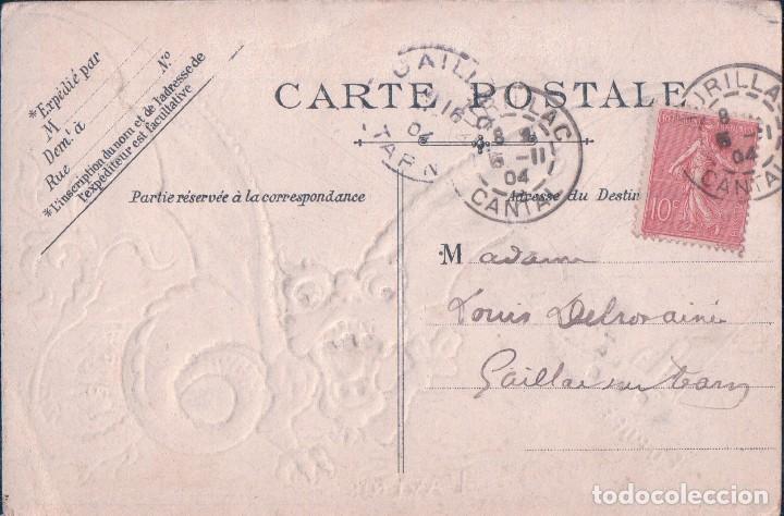 Postales: POSTAL EN RELIEVE DEL DRAGO ASIATICO SE COME EUROPA. VER EN DETALLE. CIRCULADA 1904 - Foto 2 - 62532992