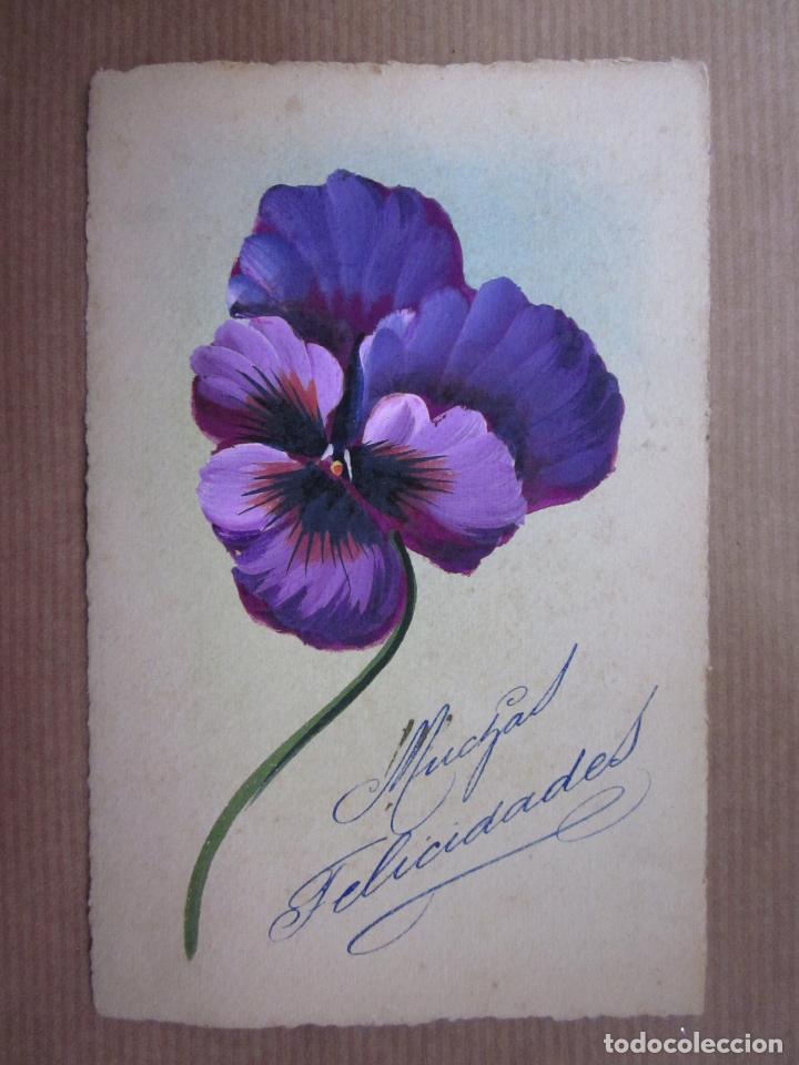 Bonita Postal Pintada A Manoflores Muchas Fel Comprar Postales