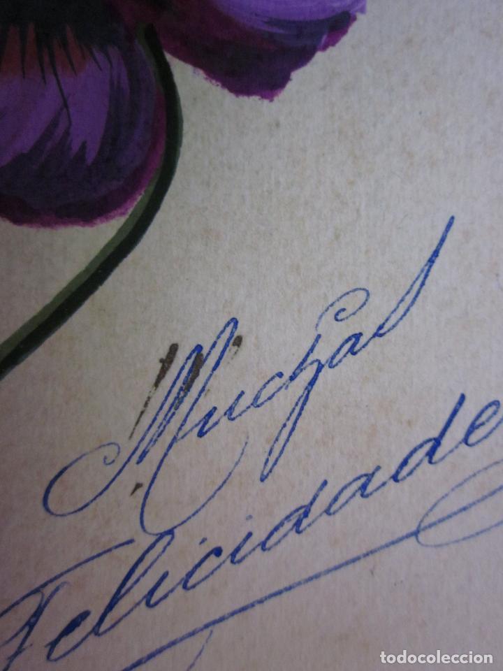 Postales: BONITA POSTAL PINTADA A MANO.FLORES. MUCHAS FELICIDADES - Foto 3 - 64668639