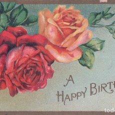 Postales: POSTAL FELICITACIÓN DE CUMPLEAÑOS, A HAPPY BIRTHDAY. ROSAS EN RELIEVES, FONDO VERDE Y RIBETES DORADO. Lote 67952285