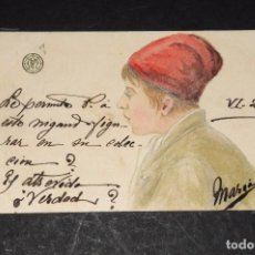 Postales: ANTIGUA POSTAL CON DIBUJO ORIGINAL. CATALANISMO-BARRETINA. CIRCULADA EN 1903. Lote 69369169