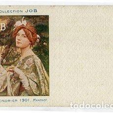 Postales: POSTAL ILUSTRADA MUJER, MAXENCE. COLLECTION JOB. CALENDRIER 1901 REVERSO SIN DIVIDIR. SIN CIRCULAR. Lote 72043875