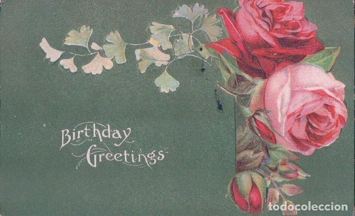 POSTAL BIRTHDAY GREETINGS, FELIZ CUMPLEAÑOS. ROSAS EN RELIEVES, FONDO NACARADO. CIRCULADA (Postales - Postales Temáticas - Dibujos originales y Grabados)