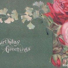 Postales: POSTAL BIRTHDAY GREETINGS, FELIZ CUMPLEAÑOS. ROSAS EN RELIEVES, FONDO NACARADO. CIRCULADA. Lote 73768351