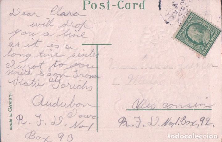 Postales: POSTAL DIBUJO PALOMAS CON CORAZONES DE FLORES EN RELIEVES. BEST WISHES. CIRCULADA - Foto 2 - 73771063