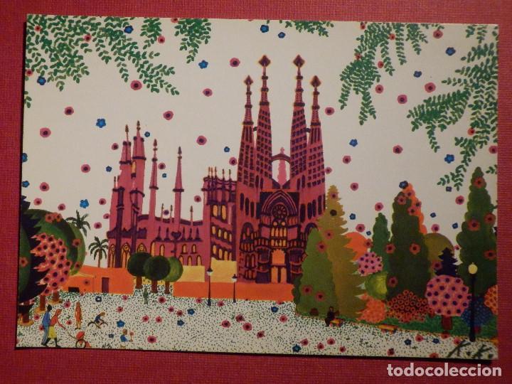 POSTAL - BARCELONA - SAGRADA FAMILIA - CRISTINA BORONDO - EDITA KEKES - 1978 (Postales - Postales Temáticas - Dibujos originales y Grabados)