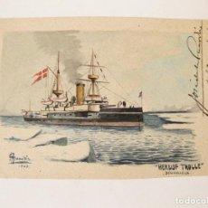 Postales: DIBUJO ORIGINAL DEL BARCO HERLUF TROLLE DINAMARCA POR J. ANARDIA. 1903. DIRIGIDA A VIGO.. Lote 78068413
