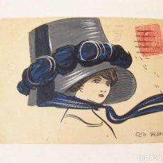 Postales: TARJETA POSTAL DE MUJER CON GRAN SOMBRERO. DIBUJO ORIGINAL DE TEO O CEO DESAINZ. 1910. Lote 78069165