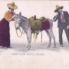Postales: POSTAL DROP YOUR NICKEL , PLEASE - BURRO SERIES Nº6 - RELIEVES. Lote 78649689