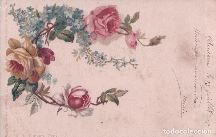 POSTAL NO TE OLVIDES DE MI - K. F. EDITADA EN PARIS - FLORES -MYOSOTIS NE M'OUBLIEZ PAS - CIRCULADA (Postales - Postales Temáticas - Dibujos originales y Grabados)