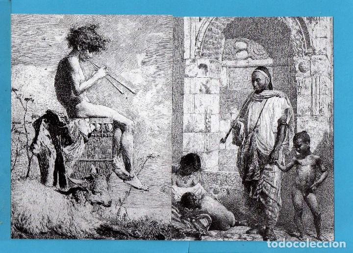 CUATRO FOTOS POSTAL DE J. R. E. DE CUADROS DE MARIANO FORTUNY DE REUS (Postales - Postales Temáticas - Dibujos originales y Grabados)