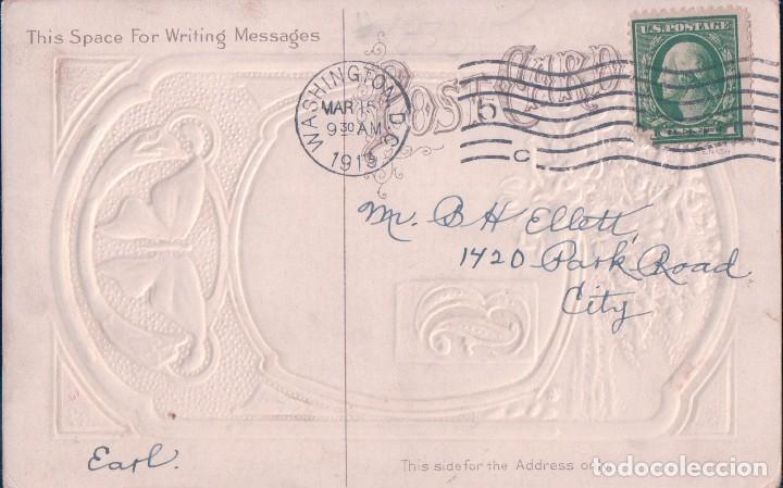 Postales: POSTAL POESIA ROMANTICA TEXTO EN INGLES - DIBUJOS Y DORADOS CON RELIEVES - CIRCULADA - Foto 2 - 80811315