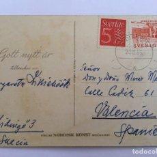 Postales: RM400 TARJETA POSTAL AÑOS 40/50 DIBUJO TRINEO NIEVE NAVIDAD. Lote 83039924