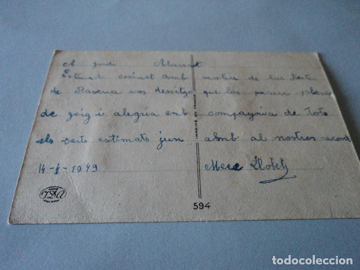Postales: POSTAL ILUSTRADA Y RELIEVE: pollitos en granja - JDA 594 circulada 1949 - Foto 3 - 85799524