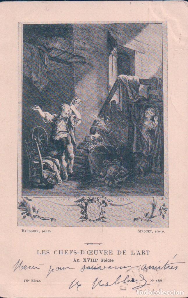 POSTAL BAUDOUIN PINX - SIMONET SCULP - LES CHEFS-D CEUVRE DE L ART- 16 SERIE - 182 - CIRCULADA (Postales - Postales Temáticas - Dibujos originales y Grabados)