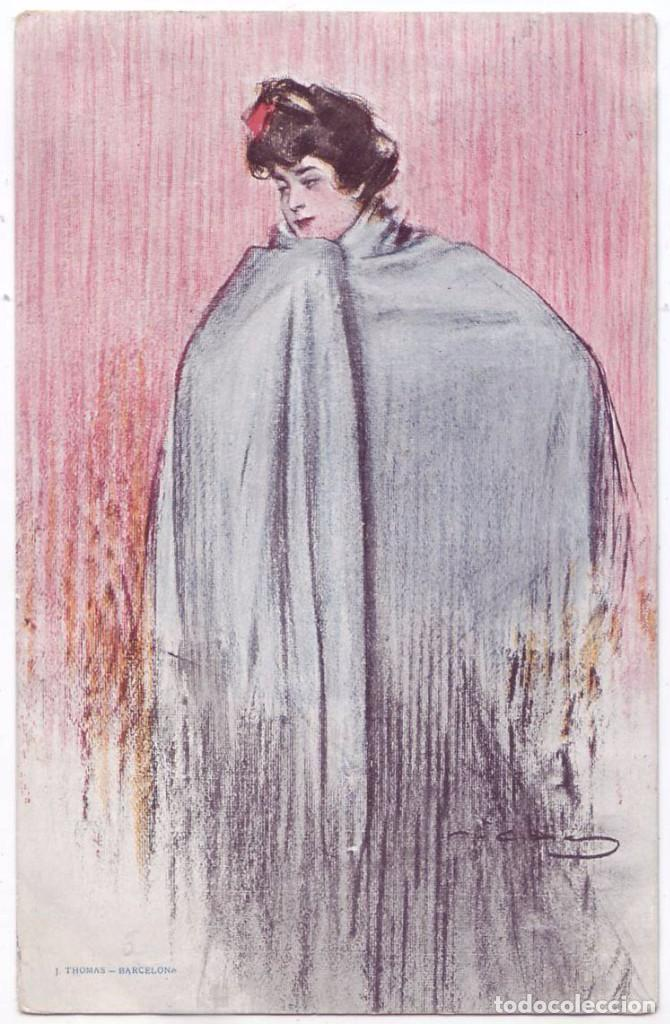 POSTAL CON ILUSTRACIÓN DE RAMÓN CASAS. J. THOMAS, BARCELONA. CIRCULADA (1906) (Postales - Postales Temáticas - Dibujos originales y Grabados)