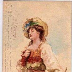 Postales: POSTAL PINTADA A MANO, RETRATO DE MUJER. ESCRITA POR CAMILO VEGA EN 1908. Lote 94105995